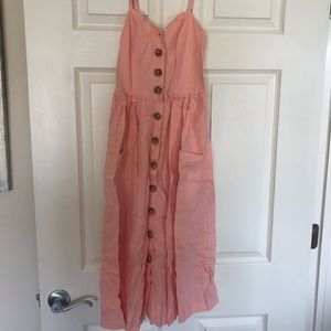 Urban Outfitters Dresses - Urban outfitters Pink button up summer dress